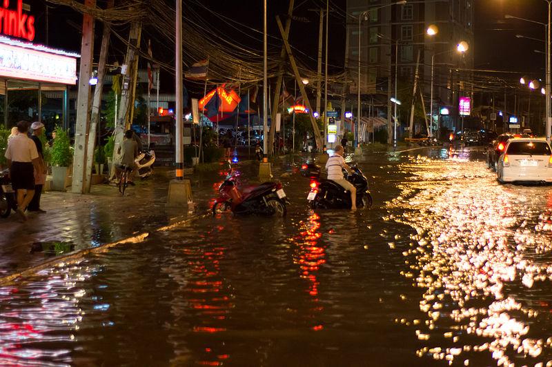 Flooded street of Pattaya. Heavy rain takes its toll on Pattaya's insufficient draining system