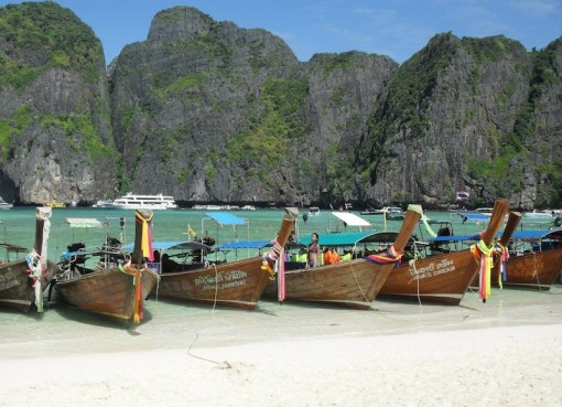 Long tail boats on Maya Beach, Phi Phi Islands