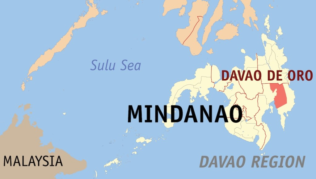 Map of Davao in Mindanao, Philippines