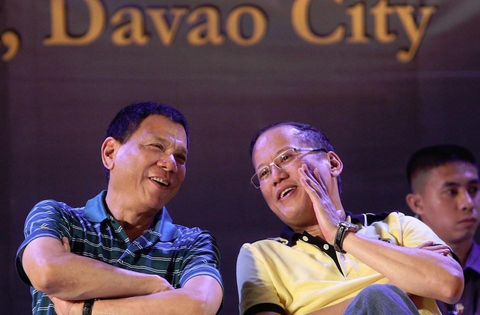 President Benigno S. Aquino III converses with Davao City Vice Mayor Rodrigo Duterte