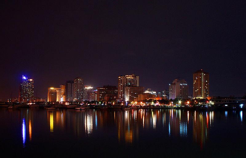 Harbor square in Manila by night