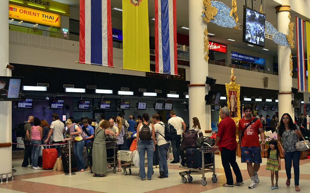Queue at Phuket International Airport terminal