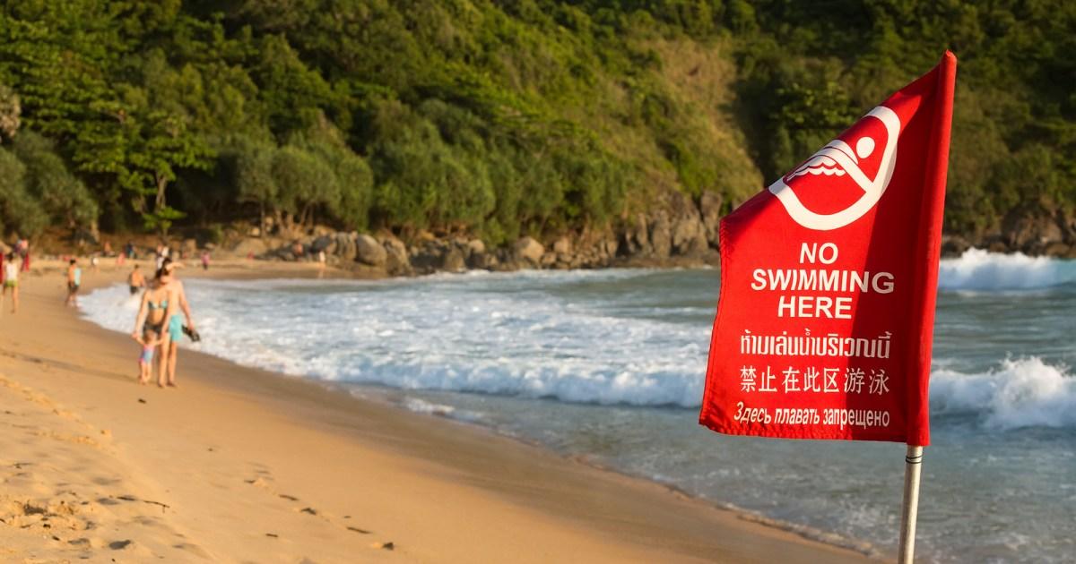 Red flag at Nai Harn beach in Phuket