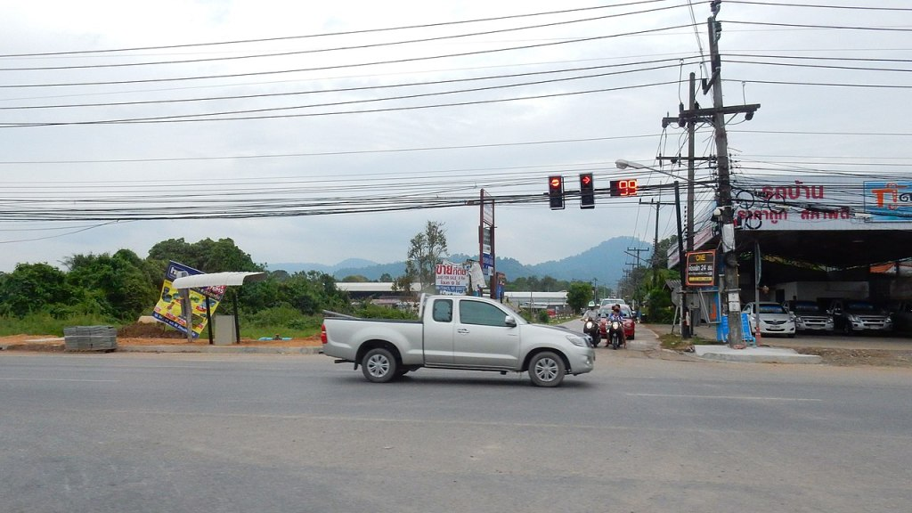 A pickup truck on a road in Phuket