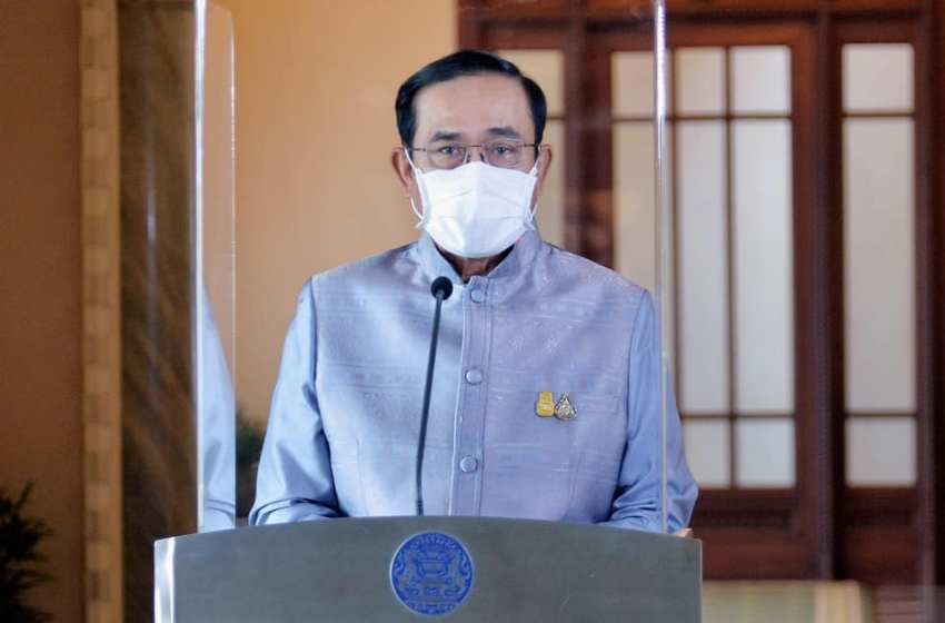 Prime Minister Prayuth Chan-ocha offering a televised address talking about the latest situation concerning vaccination in Thailand