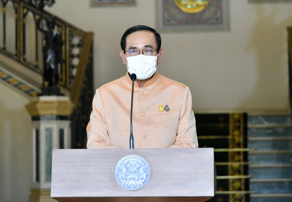 Prayut Chan-o-cha offering a speech during the Covid-19 pandemic