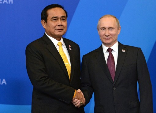 Prayuth Chan-Ocha and Vladimir Putin at Russia-ASEAN Summit