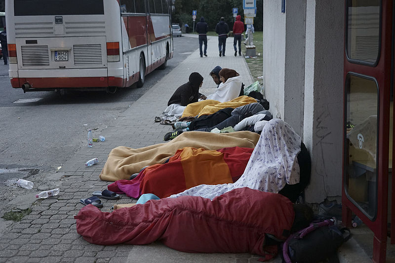Syrian refugees sleeping in the open air in Budapest, Hungary, during refugee crisis
