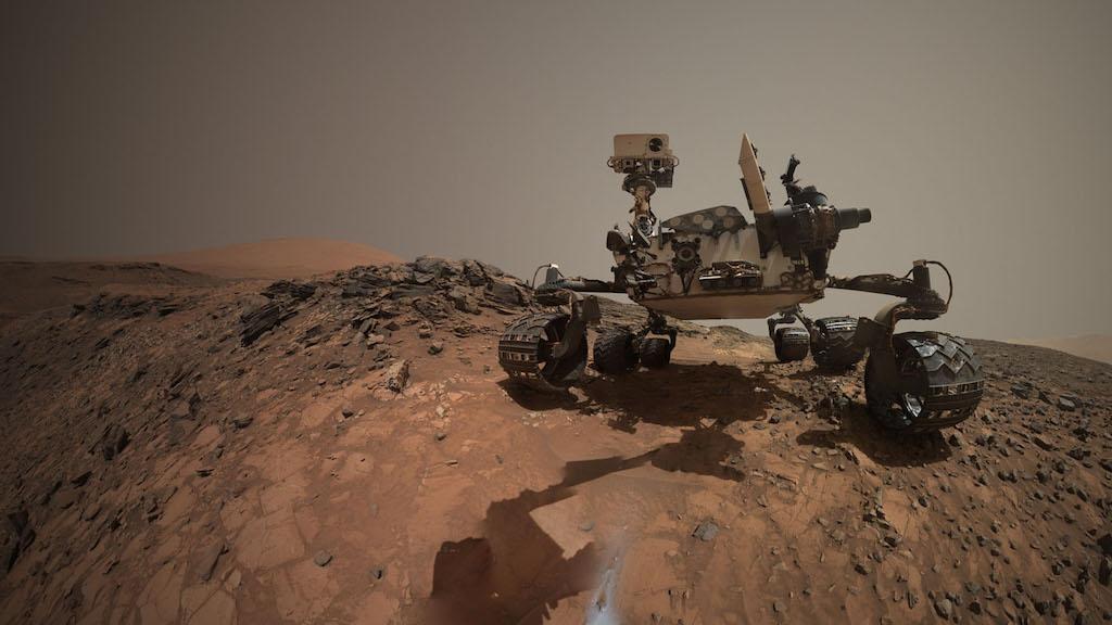 Selfie image taken by Curiosity's Mars Hand Lens Imager (MAHLI) on Aug. 5, 2015