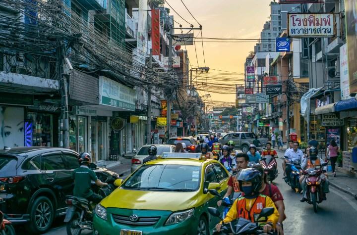 Traffic jam in Bangkok street.