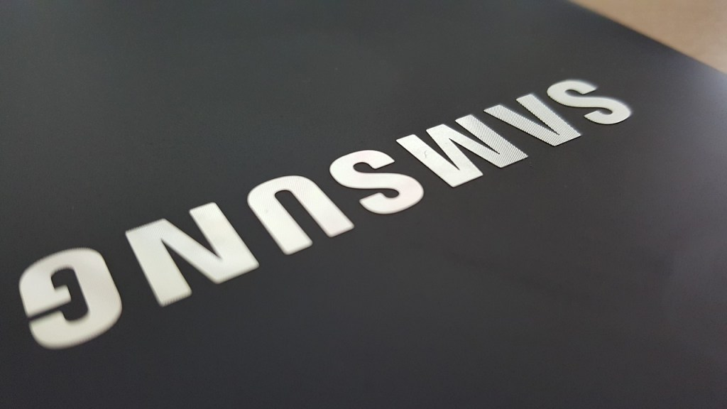 Samsung logo on a tablet