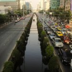 Traffic jam on Sathorn Road in Bangkok