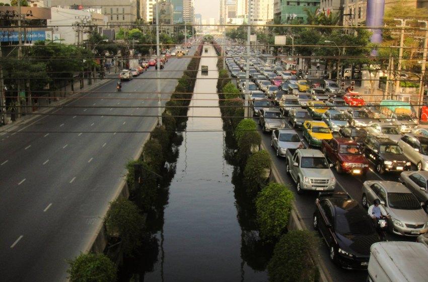 Traffic jam on Sathorn Road in Bangkok