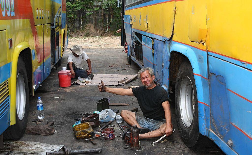 Servicemen at the bus terminal in Ubon Ratchathani
