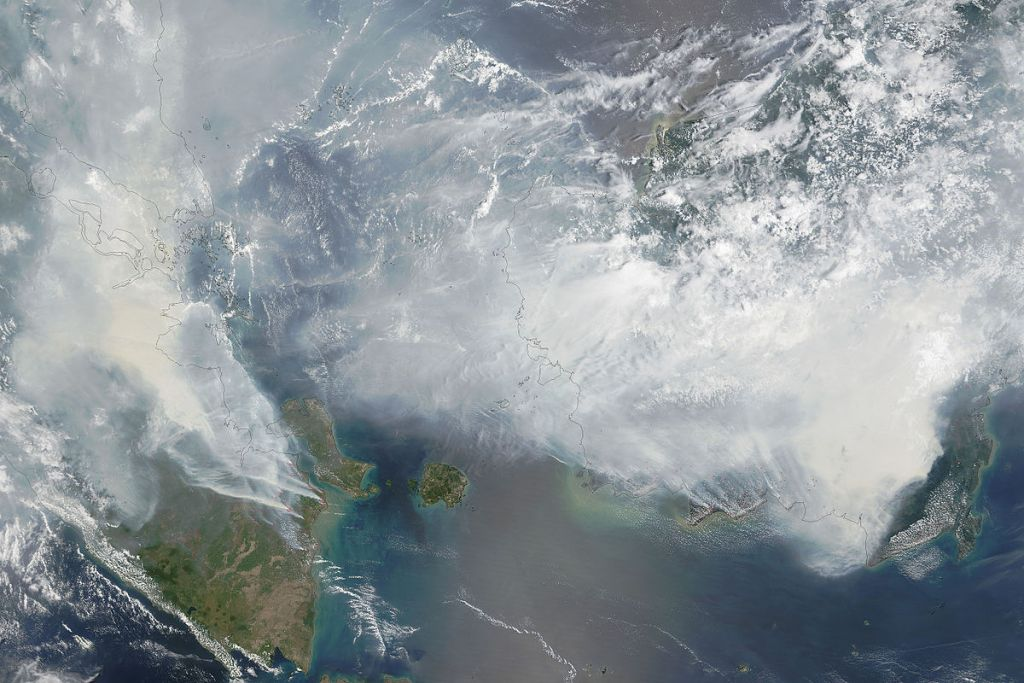 Satellite image of Southeast Asian haze