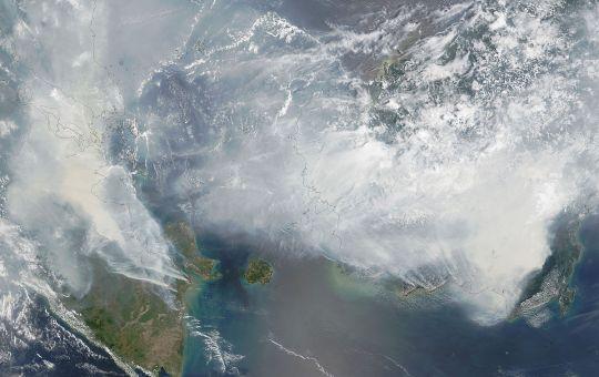 Satellite image of Southeast Asian haze