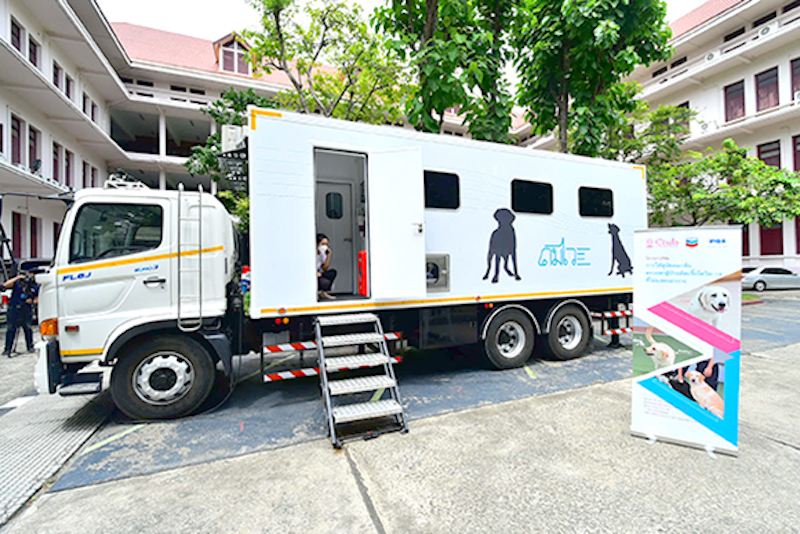 Sniffer Dogs Mobile Unit for COVID-19 screening