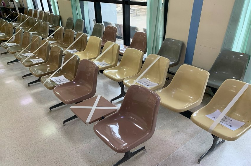 Social distancing seats at Chulalongkorn Hospital in Bangkok