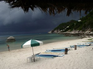 Incoming storm on a beach in Koh Tao