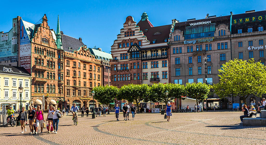 Stortorget, a large plaza in Malmö, Sweden