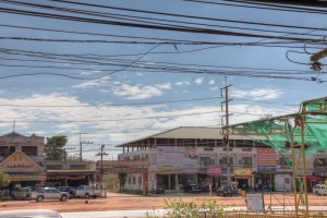 Road in Kabin Buri, Prachinburi Province HDR test.
