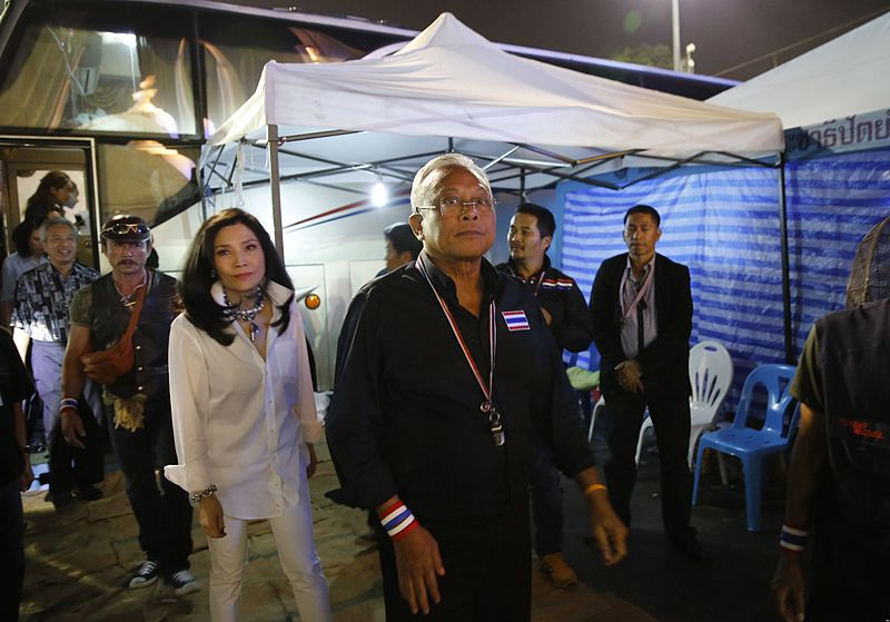 Suthep during the 2014 protest in Bangkok