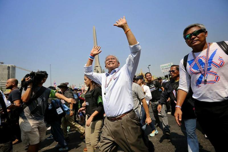 Suthep marching during Bangkok protests
