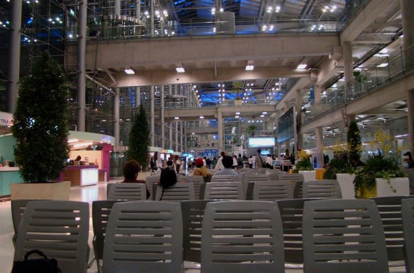 Bangkok Suvarnabhumi Airport Arrivals Hall (on far left)