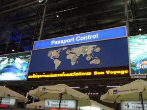 Passport Control area at Suvarnabhumi airport, Bangkok