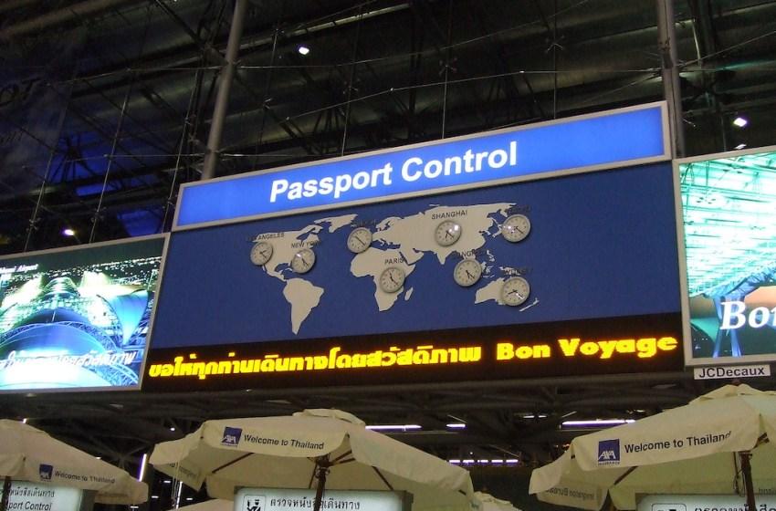 Passport Control area at Suvarnabhumi airport, Bangkok