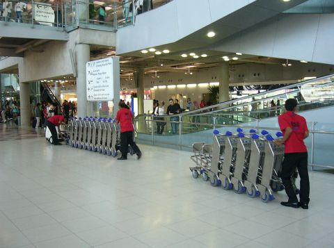 Luggage cart collection at Suvarnabhumi International Airport