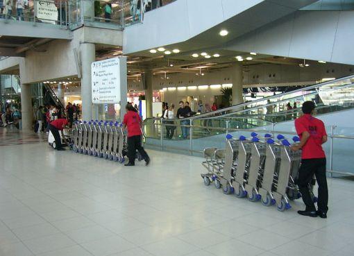 Luggage cart collection at Suvarnabhumi International Airport
