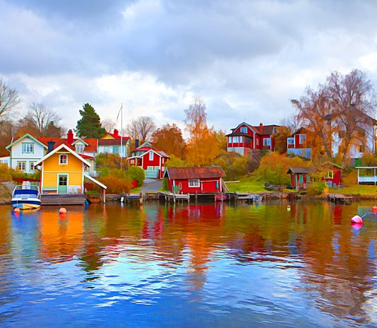Picturesque view of Vaxholm town in Sweden