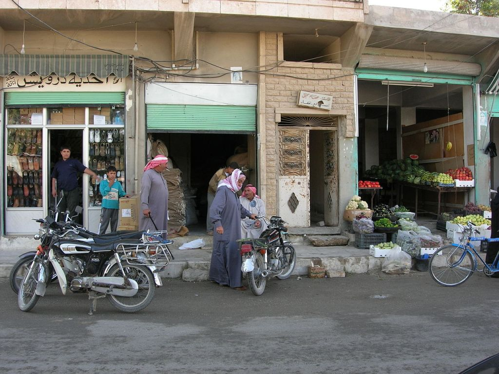 A street view of Manbij city in Syria