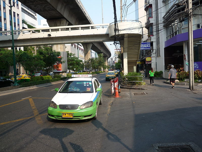 White and green taxi in Bangkok