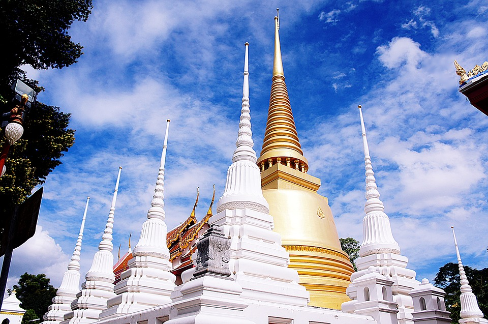 Pagodas and chedi inside a Buddhist temple complex