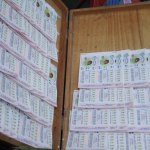 Wooden box with Thai lottery tickets