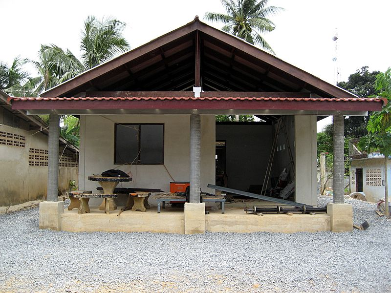 Front view of a unfinished Thai house built in Trat Province