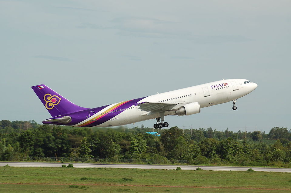 Thai Airways Airbus A300 departing Khon Kaen Airport