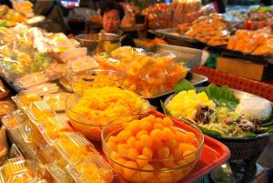 Thai sweets, cookies and desserts sold at Thanin Market in Chiang Mai