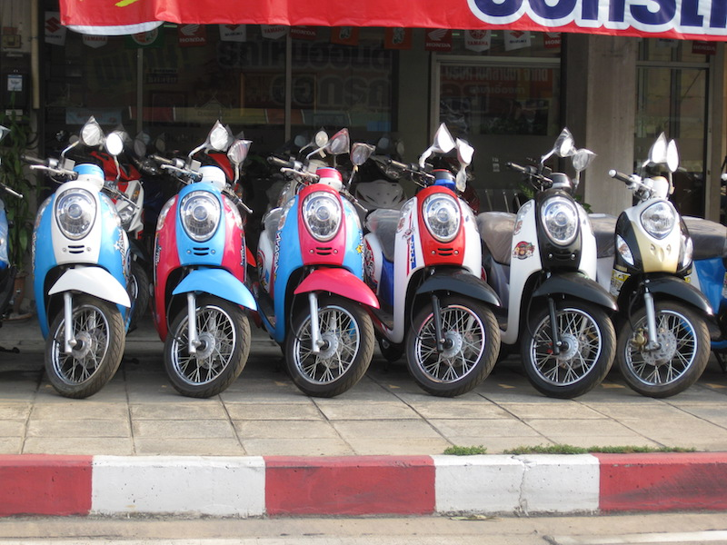 Honda Scoopy scooters at motorcycle shop