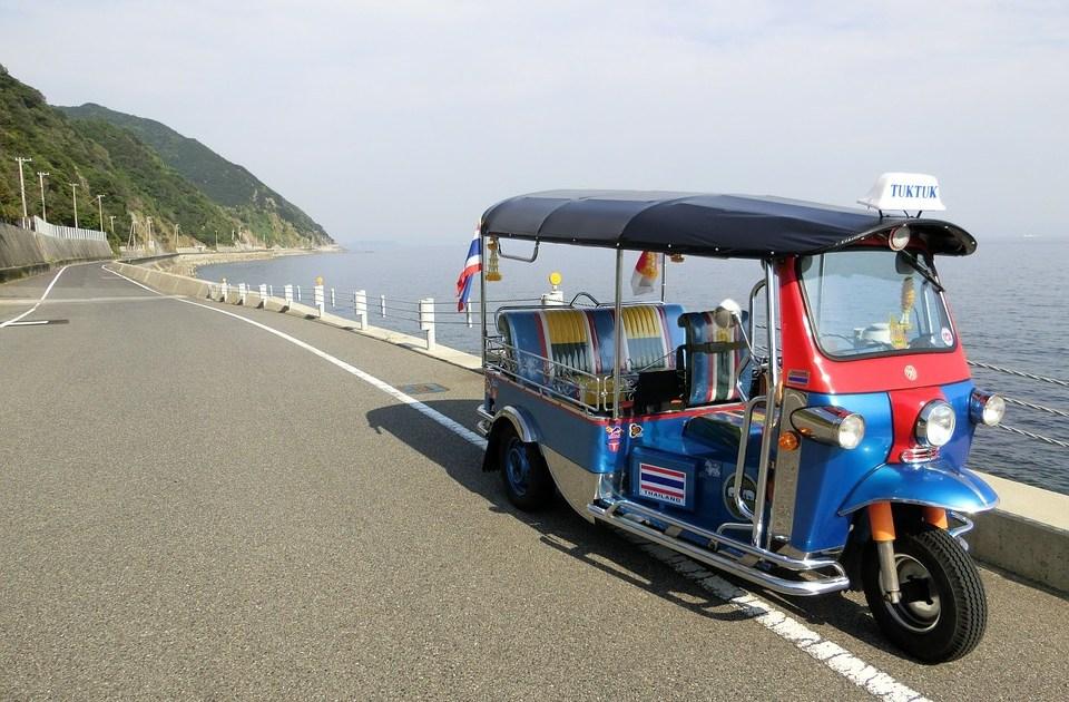 Tuk Tuk on a front beach road