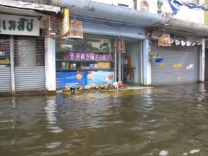 Flooded street during Thailand floods in November 2011