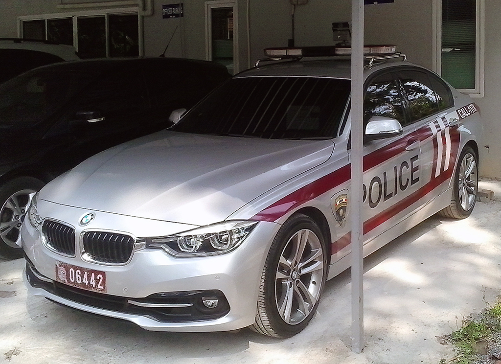 Thailand immigration police BMW smart car that have inbuilt alerts and tracking systems as well a live connection to database-driven information, linked to the country's biometric system