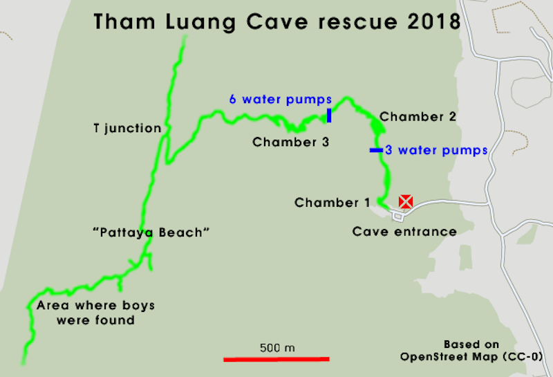 Tham Luang cave rescue map