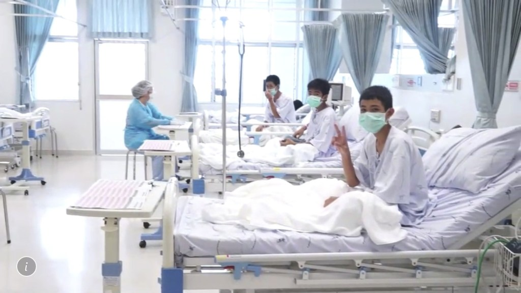 The 12 boys and coach recovering in their hospital beds after being rescued