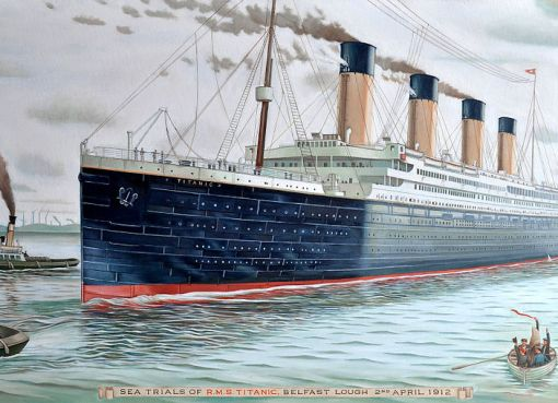 RMS Titanic painting by Karl Beutel, oil on canvas 24 x 48 inches