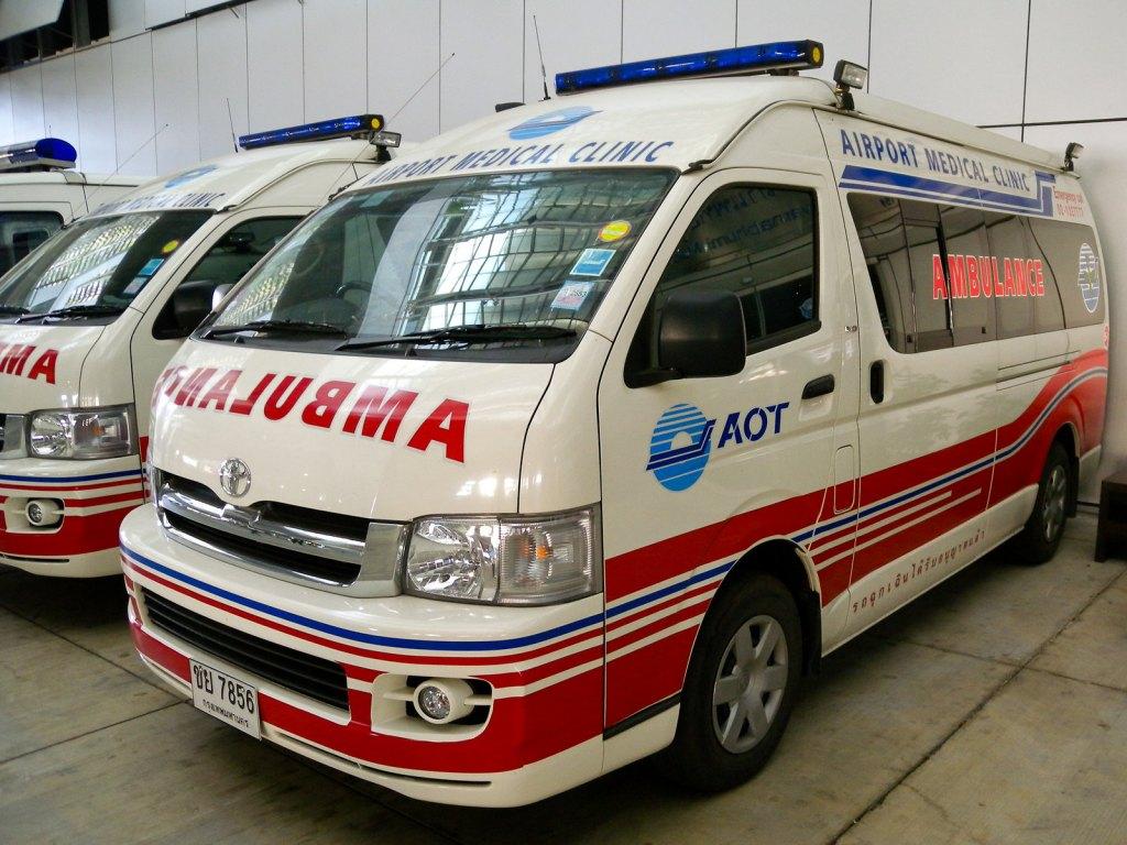 Toyota Commuter ambulance at Suvarnabhumi Airport, Bangkok