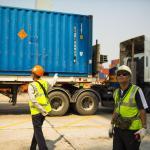 Container truck at Laem Chabang Port, Chonburi