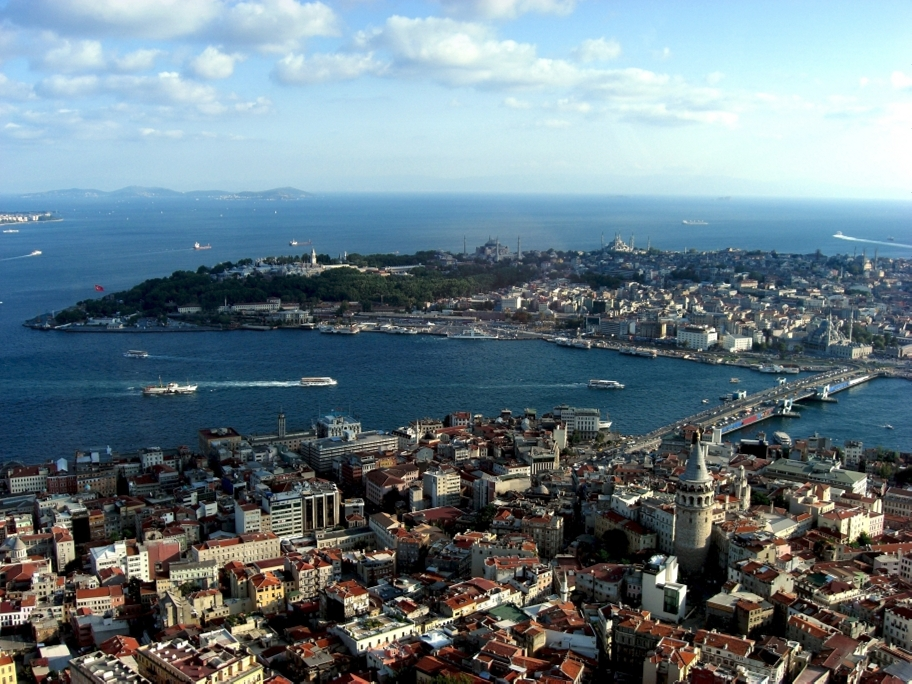 Aerial view of historical Sultan Ahmet and Galata district in Istanbul